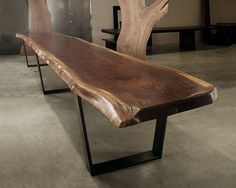 Another great find from Hudson Furniture is this large scale, solid walnut dining table. Live Edge Furniture, Furniture Dining Table, Dining Room Table, Wood Furniture, Furniture Design, Wood Slab Table, Wooden Tables, Walnut Table, Live Edge Tisch