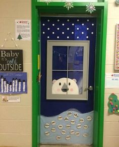 This is my preschool classroom door. My hubby built the frame of the window and ., This is my preschool classroom door. My hubby built the frame of the window and . This is my preschool classroom door. My hubby built the frame of t. Holiday Door Decorations, Winter Door Decoration, Class Door, School Doors, Bulletins, Classroom Crafts, Christmas Classroom Door Decorations, Thanksgiving Classroom Door, Preschool Door Decorations