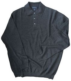 Brooks Brothers Charcoal Merino Wool Collar Sweater XL NW