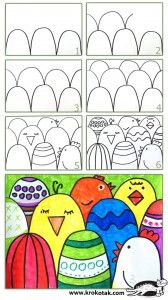 to make an easy Easter postcard (krokotak) How to make an easy Easter postcard Going to use this for foreground, middle ground and background!How to make an easy Easter postcard Going to use this for foreground, middle ground and background! Spring Art Projects, School Art Projects, Spring Crafts, Easter Activities, Art Activities, Easter Art, Easter Crafts, Easter Eggs, Arte Elemental