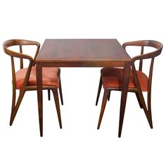 Midcentury Pair of Edward Wormley for Dunbar Chairs with Rosewood Game Table