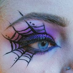 Pin for Later: 25 Spiderweb-Themed Makeup Ideas That Will Turn Heads on Halloween Glittering Glance Halloween Spider Makeup, Spider Web Makeup, Halloween Eyes, Halloween Makeup Looks, Halloween Costumes, Halloween Zombie, Witch Makeup, Zombie Makeup, Scary Makeup