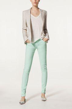 linen top, linen blazer, sea foam green skinny jeans