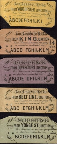 Very old Toronto streetcar transfers
