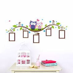 owls photo frame wall stickers home decoration bedrrom animals wall decals mural art living room cartoon flower vine zooyoo1021-in Wall Stickers from Home & Garden on Aliexpress.com | Alibaba Group