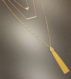 Gold Tassel Necklace | Layered Necklaces MarciaHDesigns | Handmade Jewelry