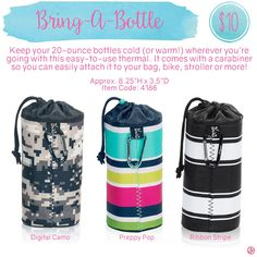 Bring-A-Bottle by Thirty-One. Spring/Summer 2016. Click to order. Join my VIP Facebook Page at https://www.facebook.com/groups/1603655576518592/  #thirtyone #thirtyonegifts