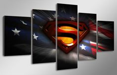 5 Panel Superman Art PIC Framed Wall Canvas Art | Octo Treasures