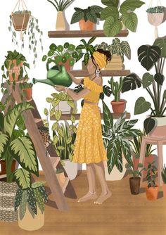 Black Girl Art, Art Girl, Black Art Painting, Plant Illustration, Illustration Styles, Plant Art, Aesthetic Art, Cartoon Art, Female Art