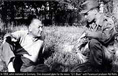 Elvis in the army in Germany , august 17 1959 , talking with Producer Hal Wallis about his futur movie project ( G-I blue ).