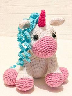 Plush amigurumi unicorn, gift of the unicorn, crochet unicorn, licorne amigurumi doudou crochet,croc Crochet Pony, Crochet Unicorn Pattern, Kawaii Crochet, Cute Crochet, Unicorn Stuffed Animal, Toy Unicorn, Unicorn Crafts, Amigurumi Patterns, Amigurumi Doll