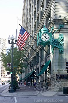 Marshall Field's department store, clock and flags