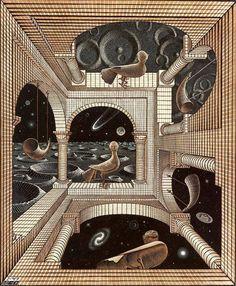 A staple of Cosmic Horror Story and of Mind Screw artworks. Mc Escher Art, Escher Kunst, Escher Drawings, Arte Sci Fi, Sci Fi Art, Op Art, Sci Fi Kunst, Wood Engraving, Another World