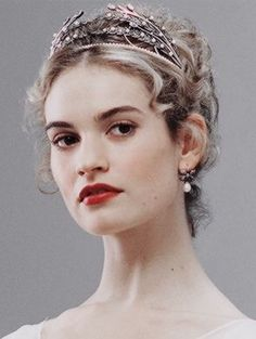 Close up of Lily James as Natasha Rostova in BBC's War and Peace. Wearing an Axenoff Jewellery wheat sheaf tiara