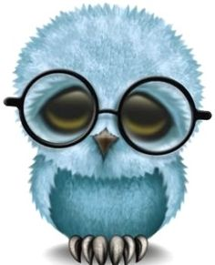 Adorable blue owl in glasses!!
