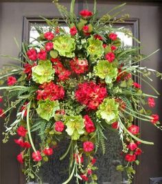 Spring Summer Door Wreath Floral Woodsy Red Lime Green Poppy