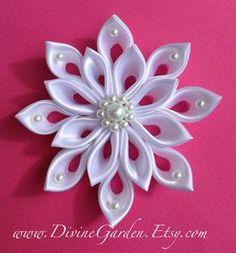 Wedding Kanzashi Satin hair clips - White Flower hair accessories