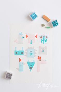 Geometric Stamped animals by Fellow Fellow (via Jessica Jones)