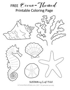 Free Ocean Themed Coloring Page Printable