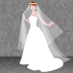 Free SVG bride wearing wedding dress and veil.  http://www.sherykdesigns-blog.com/