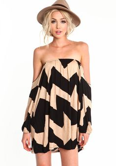 Chevron Off Shoulder Dress, TAUPE, large $23.95