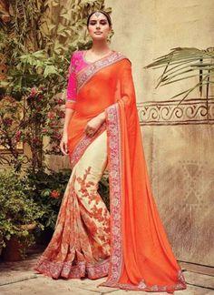Orange Beige Embroidery Work Stone Work Net Leheriya Designer Wedding Sarees http://www.angelnx.com/Sarees/Wedding-Sarees