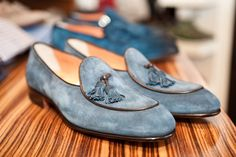 These shoes are bad ass cool-so swanky! Santoni suede tassel in powder blue with brown leather piping.