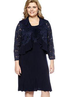RM Richards Plus Size Lace Jacket Dress