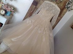 Gorgeous Vintage Lace Tulle Wedding Dress Ivory Long Sleeve Country Wedding Shabby Chic on Etsy, $175.00