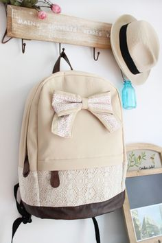 Cream Bow Backpack ^ By far THE cutest backpack I have EVER seen!! :)