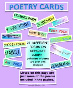 Do you have students who say they don't like to write poems? They'll join in the fun as they write poems with friends in small groups using my 27 poetry task cards. All cards have definitions and examples of the poems. There are traditional poems as well as humorous and topics kids relate to. Laminate the cards for future use. priced item. Poetry Activities, Teaching Activities, Teaching Resources, Teaching Ideas, Poetry Unit, Writing Poetry, Teaching Poetry, Teaching Writing, Writing Inspiration