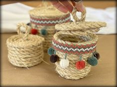 These little rope containers/baskets are so addicting to make. I ran out of rope yesterday and literally tried to think of where I cou. Big Basket, Cut The Ropes, Basket Planters, Pom Pom Trim, Baskets, Container, Create, Diy, Manualidades