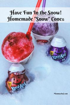 A fun and yummy activity with your kids, making Homemade Snow Cones! Your kids are going to love being in the snow making this recipe.
