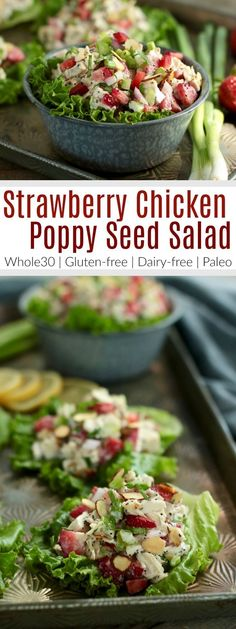 Wrapped in a crisp lettuce leaf, Strawberry Chicken Poppy Seed Salad makes for an easy lunch that's tasty and fresh. Dairy Free Salads, Salad Recipes Gluten Free, Healthy Salad Recipes, Diet Recipes, Recipies, Freezer Recipes, Freezer Cooking, Cooking Tips, Clean Eating