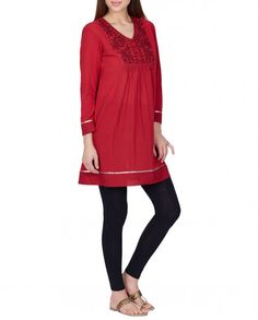 Rose Red Tunic with Dori Embroidery - Kurtis - Shop by Category - ROW - Offer