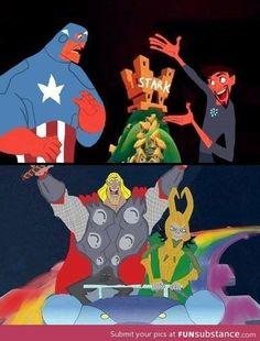 Captain America, Tony Stark, Loki and Thor...I laughed so hard.