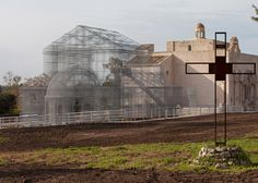 Italian artist Edoardo Tresoldi has used wire to recreate an early Christian church on an archaeological site in Siponto, a port town in southern Italy