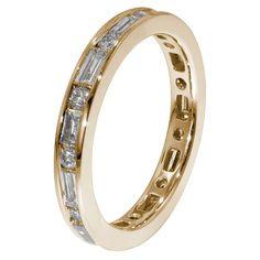 18ct Yellow Gold 1.65 Carat  Round & Baguette Diamond Full Eternity Ring
