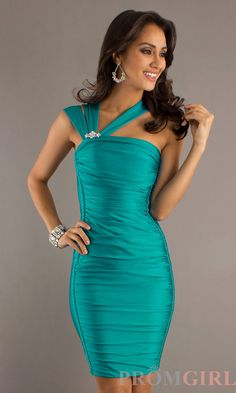 Off the Shoulder Teal Cocktail Dress by Atria - Promgirl.com