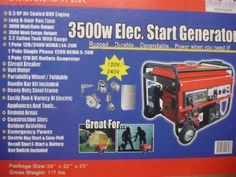 3500 Watt Generator with wheel kit - PULL Start - NO Electric Start - Dependable, Quiet Standby Power