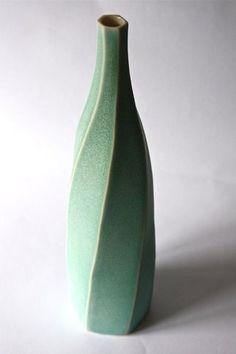 Emily Myers, UK.  Faceted Bottle, porcelain