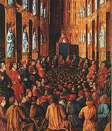 Papa Urbano II al Concilio di Clermont, miniatura dal Livre des Passages d'Outre-mer, 1490 circa (Bibliothèque nationale de France).