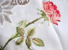 Lovely Society Embroidery and Lace Table Topper
