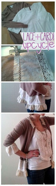 lace and cardi refashion upcycle