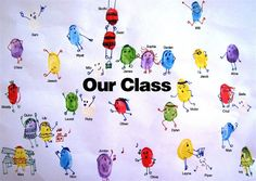 Create a fingerprint mural. Have each child stamp fingerprint. Then, they decorate fingerprint to personalize it & sign their name. End Of School Year, Beginning Of School, First Day Of School, Art School, School Ideas, Classroom Displays, Art Classroom, Class Projects, Art Projects