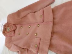 Vintage wool pink ladies suit skirt jacket size 8 elegant NR lined