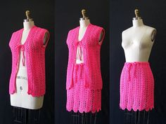 THINK PINK Vintage 60s Vest and Mini Skirt 1960's by lovestreetsf