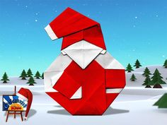 Origami Santa Claus by Tomoaki Ono  Designer: Tomoaki Ono  Folder and Photographer: Origami Kids  Difficulty level: Easy. Time to fold 15 min. 32 Steps. Folded from a one classic Red and White rectangular origami paper, about 5cm x 20cm.  Folding Instructions: http://www.origamichristmas.com/2014/12/origami-santa-claus-by-tomoaki-ono.htm