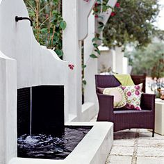 Small outdoor space add a fountian. I have always loved water falls and water fountians! I would LOVE one at my house with a fire pit next to it to relax and work by year round!!