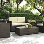 Crosley Furniture Palm Harbor 3 Piece Outdoor Wicker Seating Set With Grey Cushions (Palm Harbor 3 Piece Outdoor Wicker Seating Set), Brown, Size Sets, Patio Furniture Outdoor Furniture Sets, Outdoor Patio Furniture, Outdoor Wicker Furniture, Outdoor Wicker Seating, Crosley Furniture, Wicker Patio Furniture Set, Patio Seating, Outdoor Seating Set, Patio Loveseat